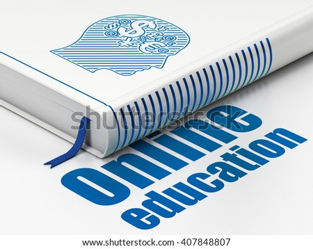 Learning concept: closed book with Blue Head With Finance Symbol icon and text Online Education on floor, white background, 3D rendering