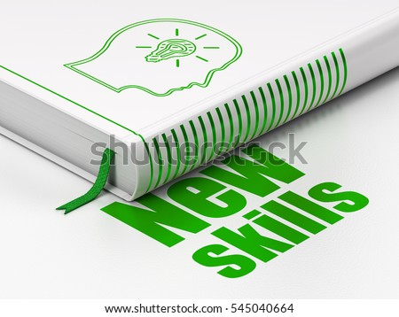 Learning concept: closed book with Green Head With Lightbulb icon and text New Skills on floor, white background, 3D rendering
