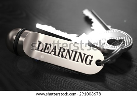 Learning Concept. Keys with Keyring on Black Wooden Table. Closeup View, Selective Focus, 3D Render. Black and White Image. - stock photo