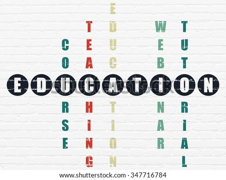Learning concept: Painted black word Education in solving Crossword Puzzle - stock photo