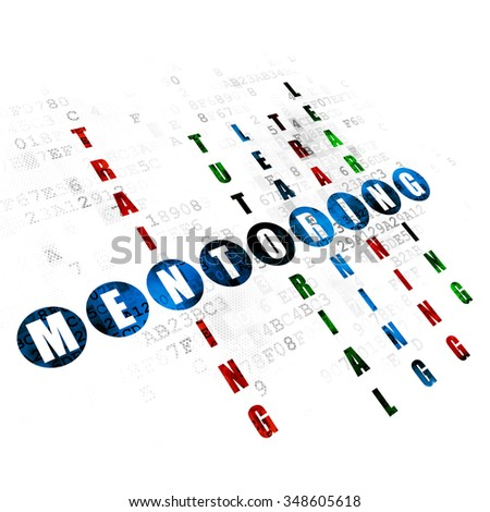 Learning concept: Pixelated blue word Mentoring in solving Crossword Puzzle on Digital background - stock photo