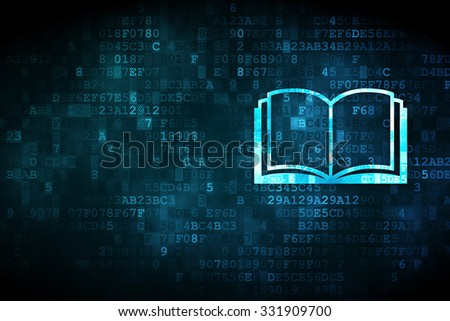 Learning concept: pixelated Book icon on digital background, empty copyspace for card, text, advertising - stock photo