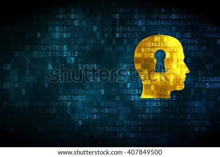 Learning concept: pixelated Head With Keyhole icon on digital background, empty copyspace for card, text, advertising - stock photo