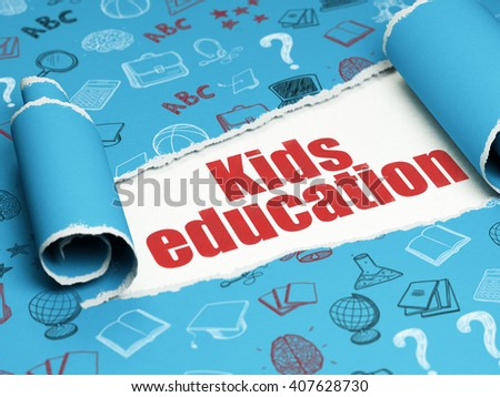 Learning concept: red text Kids Education under the curled piece of Blue torn paper with  Hand Drawn Education Icons, 3D rendering - stock photo