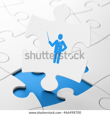 Learning concept: Teacher on White puzzle pieces background, 3D rendering