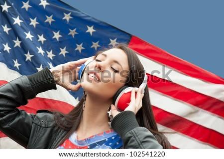 Learning language - American English (girl) - stock photo
