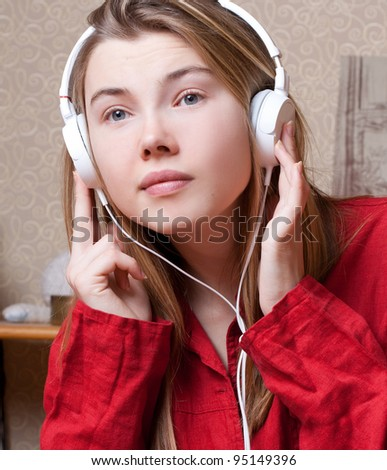 Learning language or listen to music - stock photo