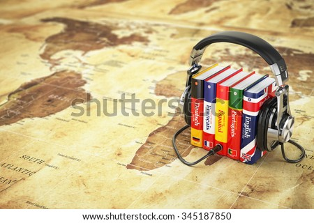 Learning languages online. Audiobooks concept. Books and headphones on the map world. 3d - stock photo