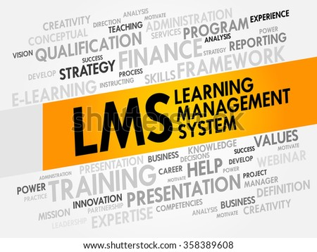 Learning Management System (LMS) word cloud, business concept background - stock photo