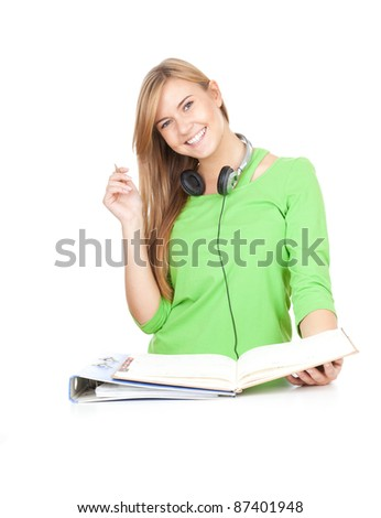 learning student girl with notepad, white background