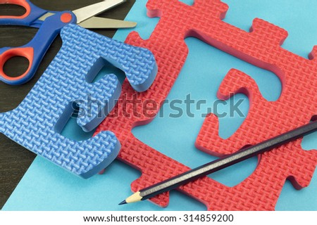 Learning the letter E The letter E learnign puzzle