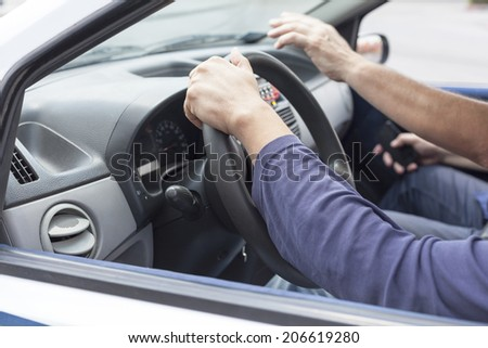 Learning to drive a car - stock photo