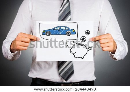 Leasing car concept. Businessman holding paper with drawing of a car and piggy bank. - stock photo
