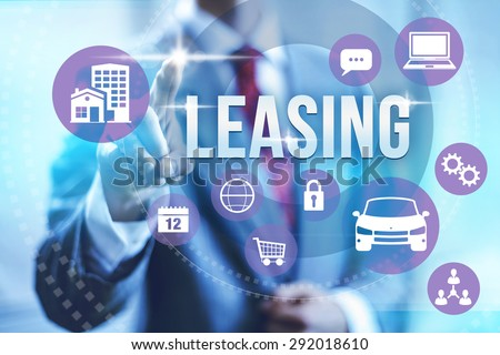 Leasing concept illustration with multiple icons - stock photo
