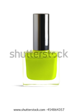Leat Green color nail polish isolated on white background with clipping path