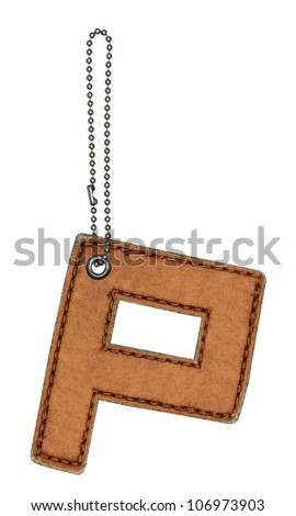 Leather alphabet with chain isolated on white