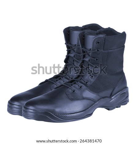 Leather Army Boots - stock photo