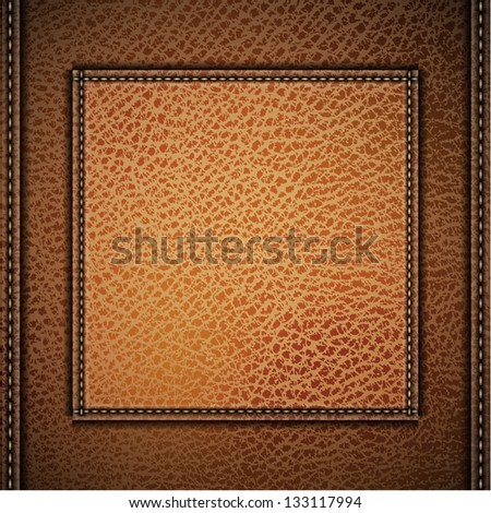 Leather background with label and stitches - raster version - stock photo