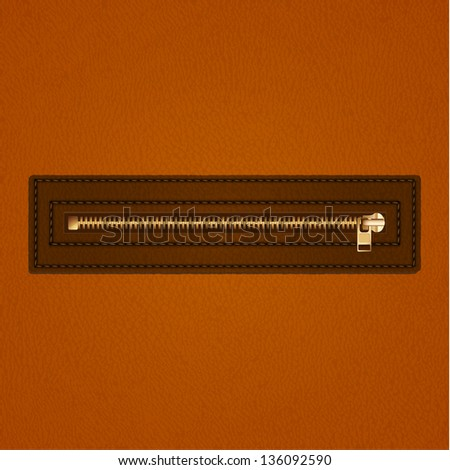 Leather background with zipper - raster version - stock photo