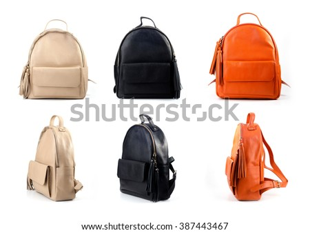 leather backpacks isolated on white background