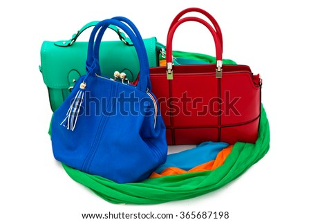 Leather bags on a white background