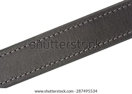 Leather belt black - stock photo