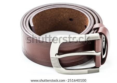 Leather belt for men - stock photo