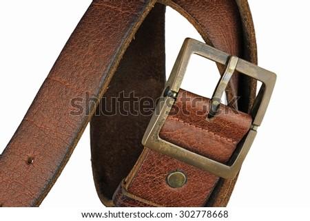 Leather belt for men on white background. Men fashion. Men accessories.  - stock photo