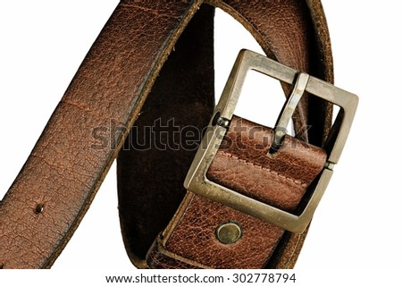 Leather belt for men on white background. Men fashion. Men accessories. (HDR) - stock photo