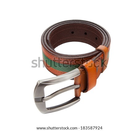 Leather belt on white background