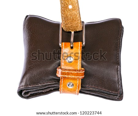 Leather belt wrapped around brown wallet on white background