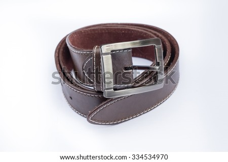 Leather belts isolated
