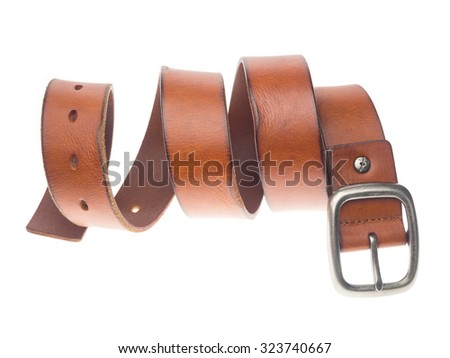 Leather belts isolated on white background