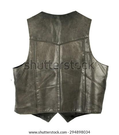 Leather biker jacket vest from back side - stock photo
