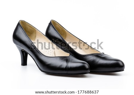 leather black shoes women isolated white background