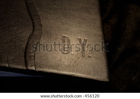 leather book cover - embossing - stock photo