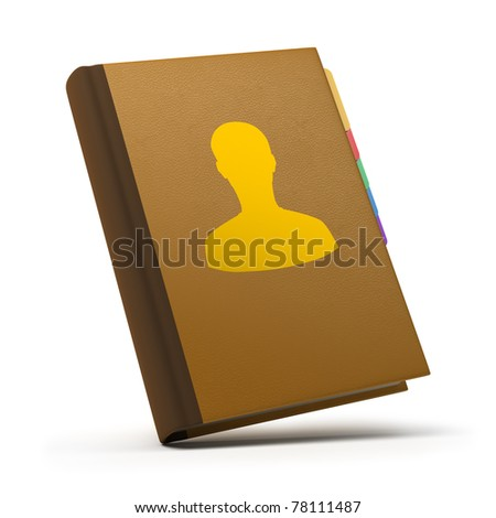 Leather book of contacts. 3d image. Isolated white background. - stock photo