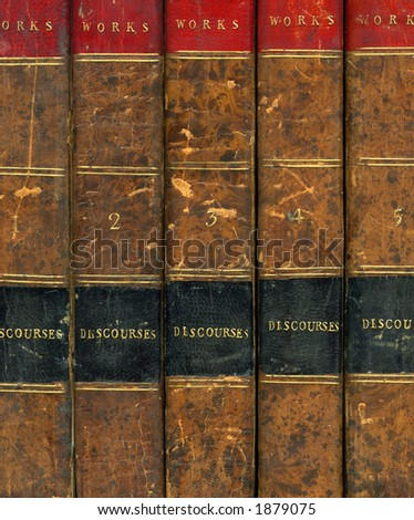 Leather bound books - stock photo