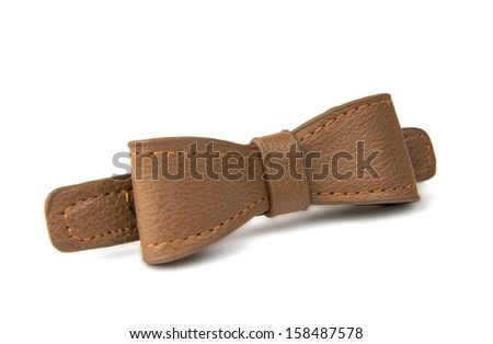 leather bow isolated on white background