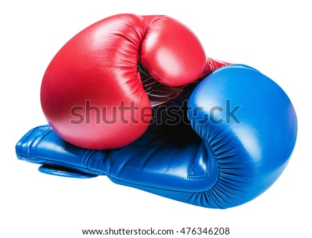 leather boxing gloves blue and red isolated on white background