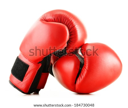 Leather boxing gloves isolated on white background