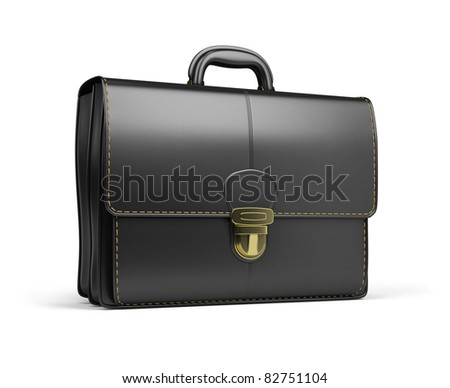 Leather briefcase black. 3d image. Isolated white background. - stock photo