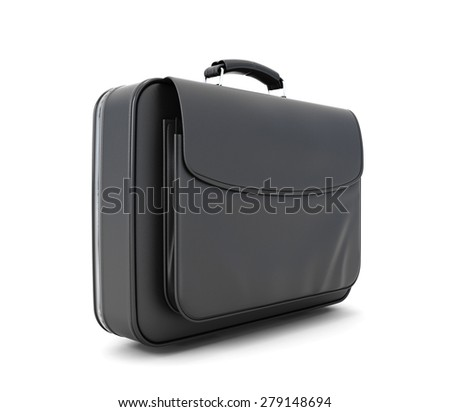 Leather briefcase for documents isolated on white background. 3d illustration.