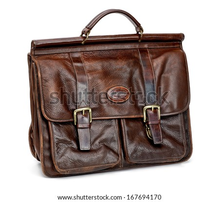 Leather briefcase on white background  - stock photo