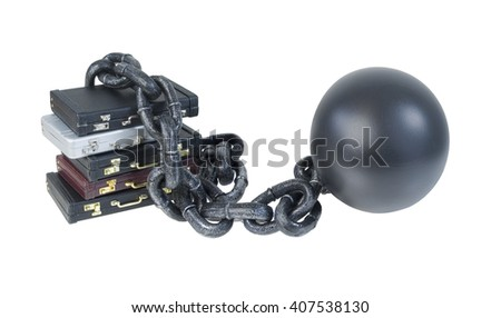 Leather briefcases bound by Ball and Chain - path included - stock photo