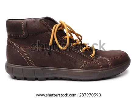 Leather brown boot on white background - stock photo