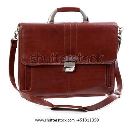 Leather brown briefcase. Isolated on white background - stock photo