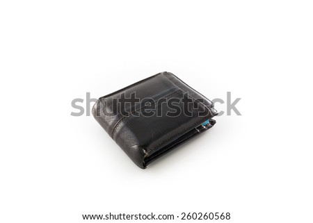 Leather brown wallet isolated on a white background - stock photo