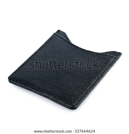 Leather business card holder isolated on white background. - stock photo