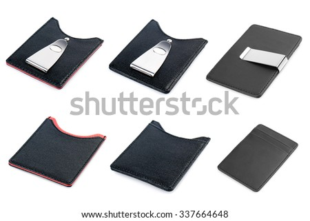 Leather business card holders isolated on white background. - stock photo